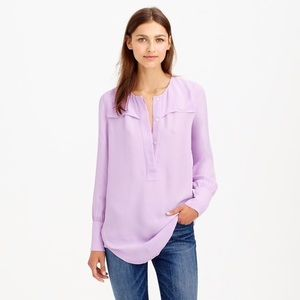 J.Crew Covered Button Crepe Blouse